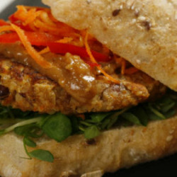 Almond Pinto Burger with Peanut Sauce