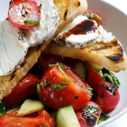 Cucumber Tomato and Roasted Radish Salad
