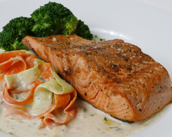 Wild Coho Salmon with Vegetable Fettuccini