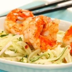 Marinated Cucumber Salad with Spicy Prawns