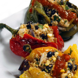 Quinoa Stuffed Peppers with Chilli Lime Sauce