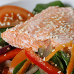 Salmon Spinach Salad with Maple Vinaigrette