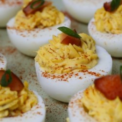 Candied Salmon Devilled Eggs