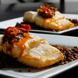 Tomato Ginger Poached Halibut