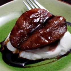 Poached Pomegranate Pears with Cashew Cream