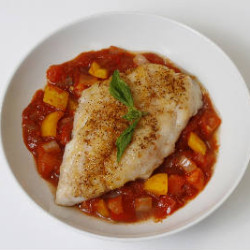Seared Snapper Fillet with Chunky Tomato Soup
