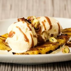 Grilled Pineapple with Ice Cream and Chocolate Sauce