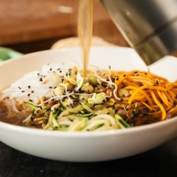 Japanese Beef Broth Ramen with Zucchini and Yam Noodles